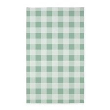jade Green Gingham pattern 3'x5' Area Rug