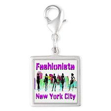 NYC FASHION Silver Square Charm