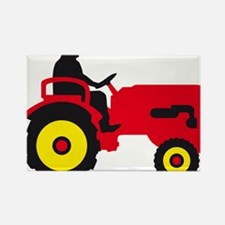 farmer with a tractor Rectangle Magnet