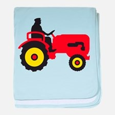 farmer with a tractor baby blanket