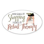 Retail Therapy Oval Sticker