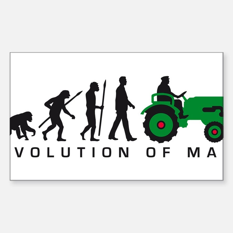 evolution of man farmer with a tractor Decal