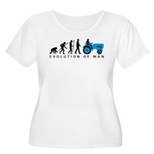 evolution of man farmer with a tractor Plus Size T