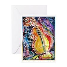Bass player, fun music art Greeting Card