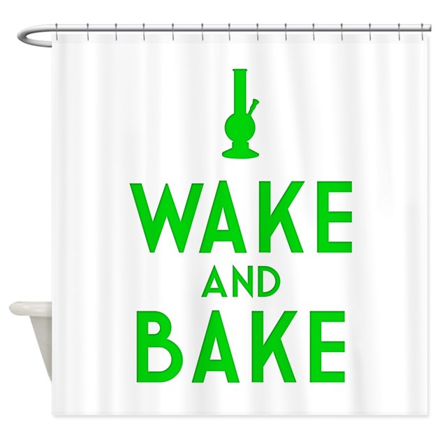 Wake And Bake Bong Shower Curtain By Arbstore