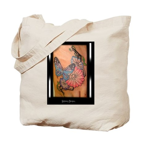 Butterfly and Flowers Tattoo Tote Bag