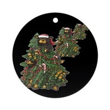 BEARS IN XMAS TREES ON BLACK Ornament (Round)
