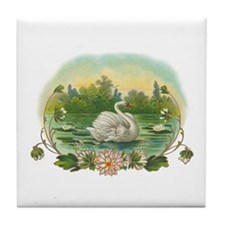 Swimming Swan Art Tile