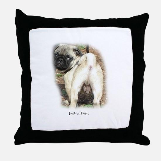 Pug Butt Throw Pillow