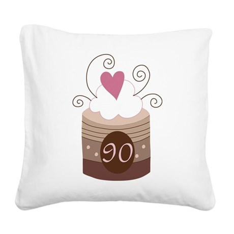 90th Birthday Cupcake Square Canvas Pillow