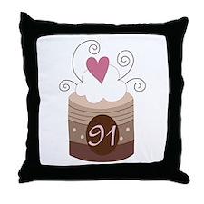 91st Birthday Cupcake Throw Pillow
