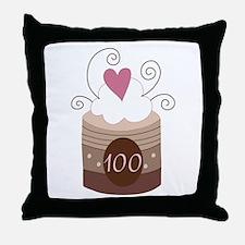 100th Birthday Cupcake Throw Pillow