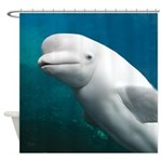 White Dolphin Shower Curtain