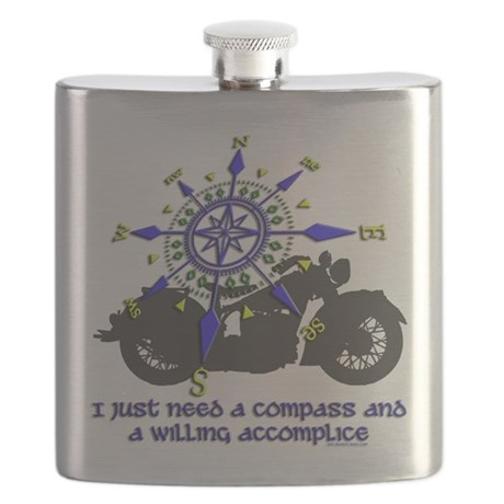 compass and willing accomplice-1-Motorcycle Flask