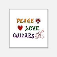 "Guitar Square Sticker 3"" x 3"""