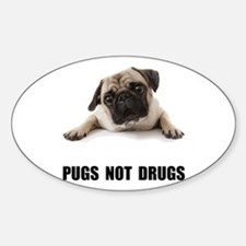 Pugs Not Drugs Black Decal