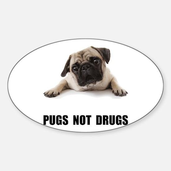Pugs Not Drugs Black Decal