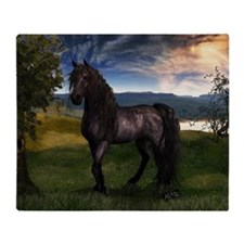 Freisian Horse Throw Blanket