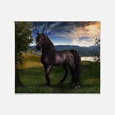 Freisian Horse Throw Blanket