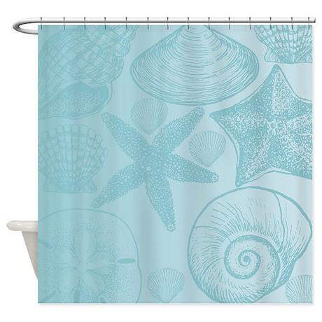 Aqua Shells Shower Curtain