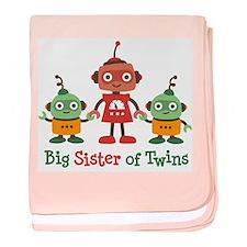 Big Sister of Twins - Retro Robot baby blanket