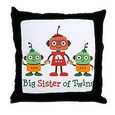 Big Sister of Twins - Retro Robot Throw Pillow