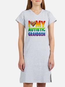 I Love My Autistic Grandson Women's Nightshirt