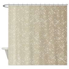 Sparkling Gold and White Shower Curtain