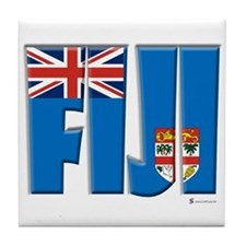 Word Art Flag of Fiji Tile Coaster