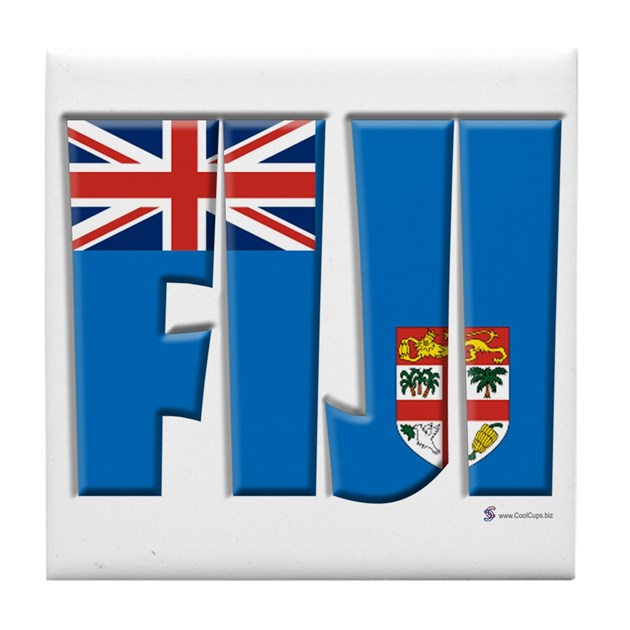 Word Art Flag Of Fiji Tile Coaster By Coolcups
