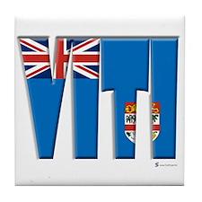 Word Art Flag of Viti (Fiji) Tile Coaster