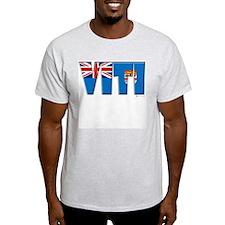 Word Art Flag of Viti (Fiji) Ash Grey T-Shirt