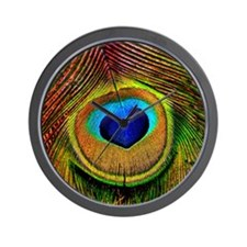 Peacock Feather Heart Wall Clock