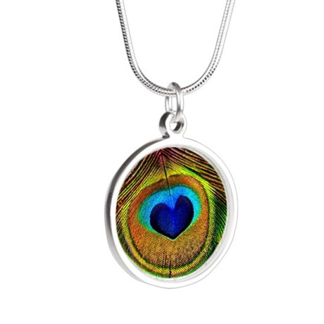 Peacock Feather Heart Necklaces