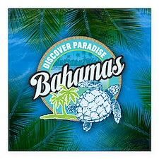 """Bahamas button Square Car Magnet 3"""" x 3"""""""