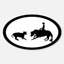 Cutting cow horse Oval Decal