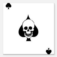"Ace of Spades Square Car Magnet 3"" x 3"""