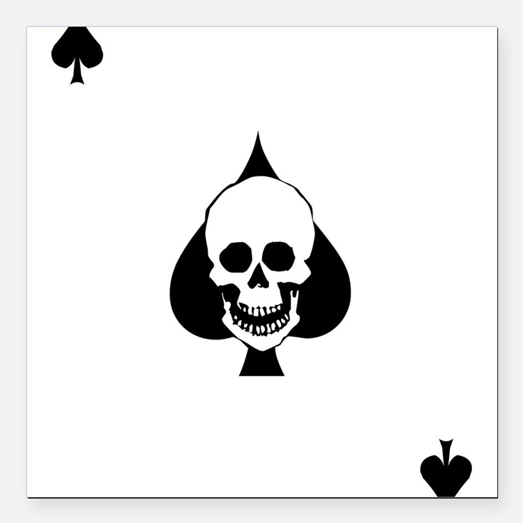 """Ace of Spades Square Car Magnet 3"""" x 3"""""""
