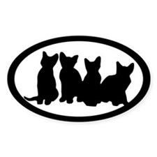 Four Kittens Oval Decal