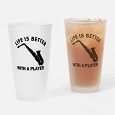 Alto Saxophone Designs Drinking Glass