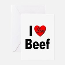I Love Beef Greeting Cards (Pk of 10)