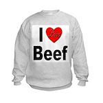 I Love Beef (Front) Kids Sweatshirt