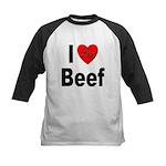 I Love Beef Kids Baseball Jersey