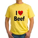 I Love Beef (Front) Yellow T-Shirt