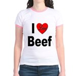 I Love Beef (Front) Jr. Ringer T-Shirt