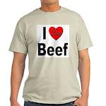 I Love Beef (Front) Ash Grey T-Shirt