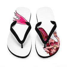 Red-Headed Pink Mermaid Flip Flops