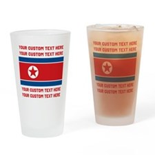 CUSTOM TEXT North Korea Flag Drinking Glass
