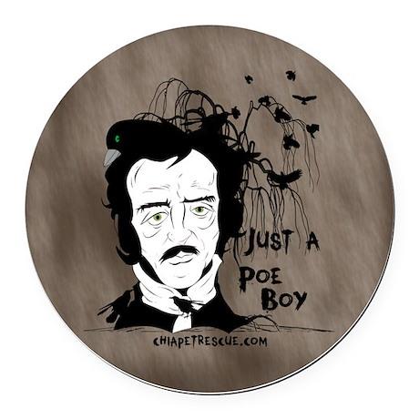 Funny Edgar Allen Poe Round Car Magnet
