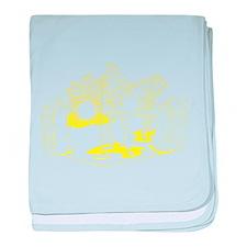 Yellow Cartoon Rock Band baby blanket